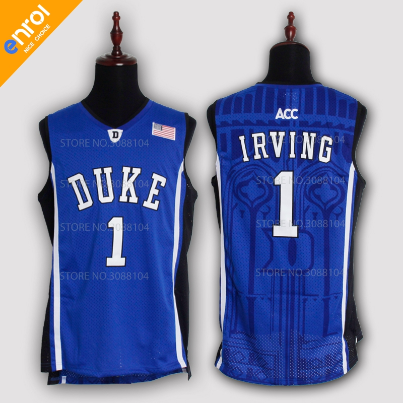 ... free shipping cheap kyrie irving basketball jerseys 1 duke university blue  devils high quality throwback stitched ... 698f3bb29