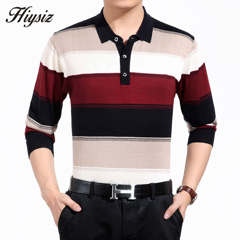 High Quality Cashmere Wool Sweater Men Famous Brand Clothing Business Fashion Big Striped Turn-down Collar Pullover Homme 66127