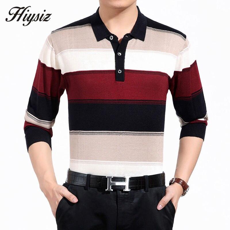 De alta calidad de lana de Cachemira suéter hombres famosa marca de ropa de moda de negocios grandes rayas giro-abajo Collar de Jersey Homme 66127