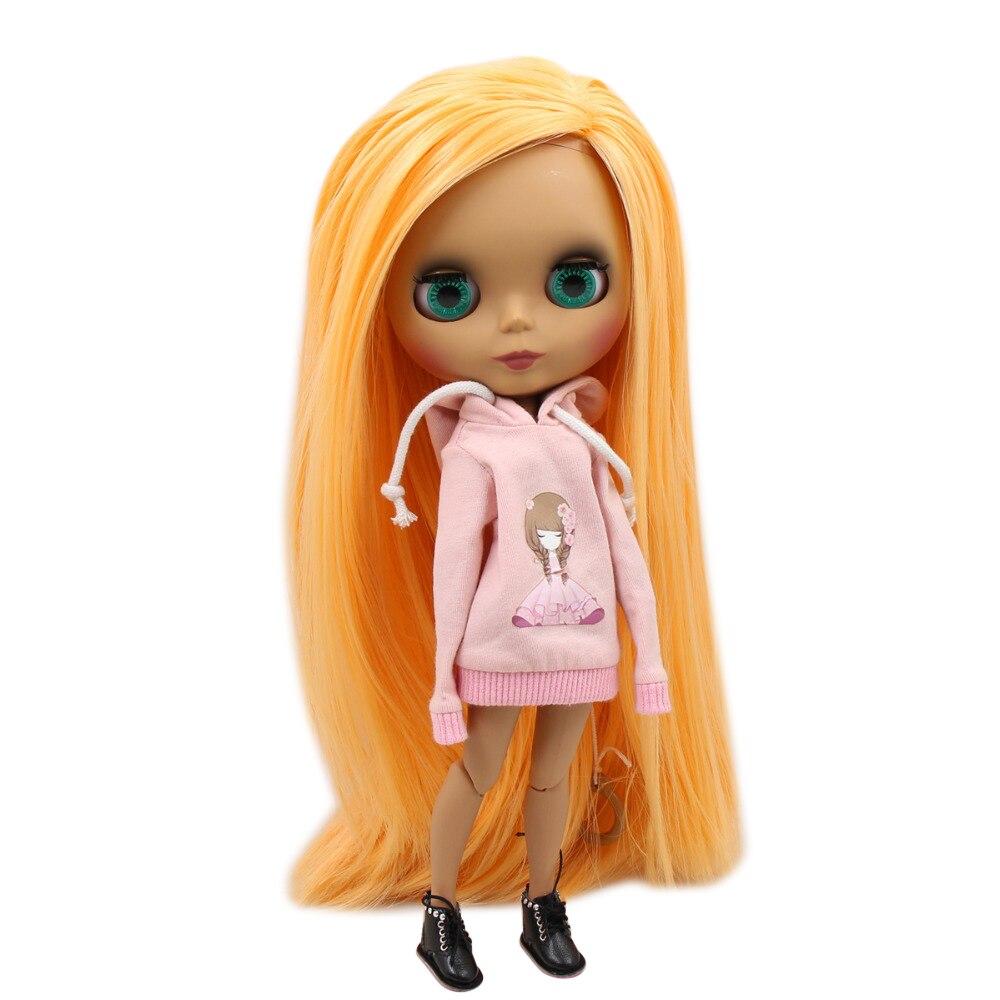 factory blyth doll 1 6 bjd joint body dark skin matte face Mango hair naked doll