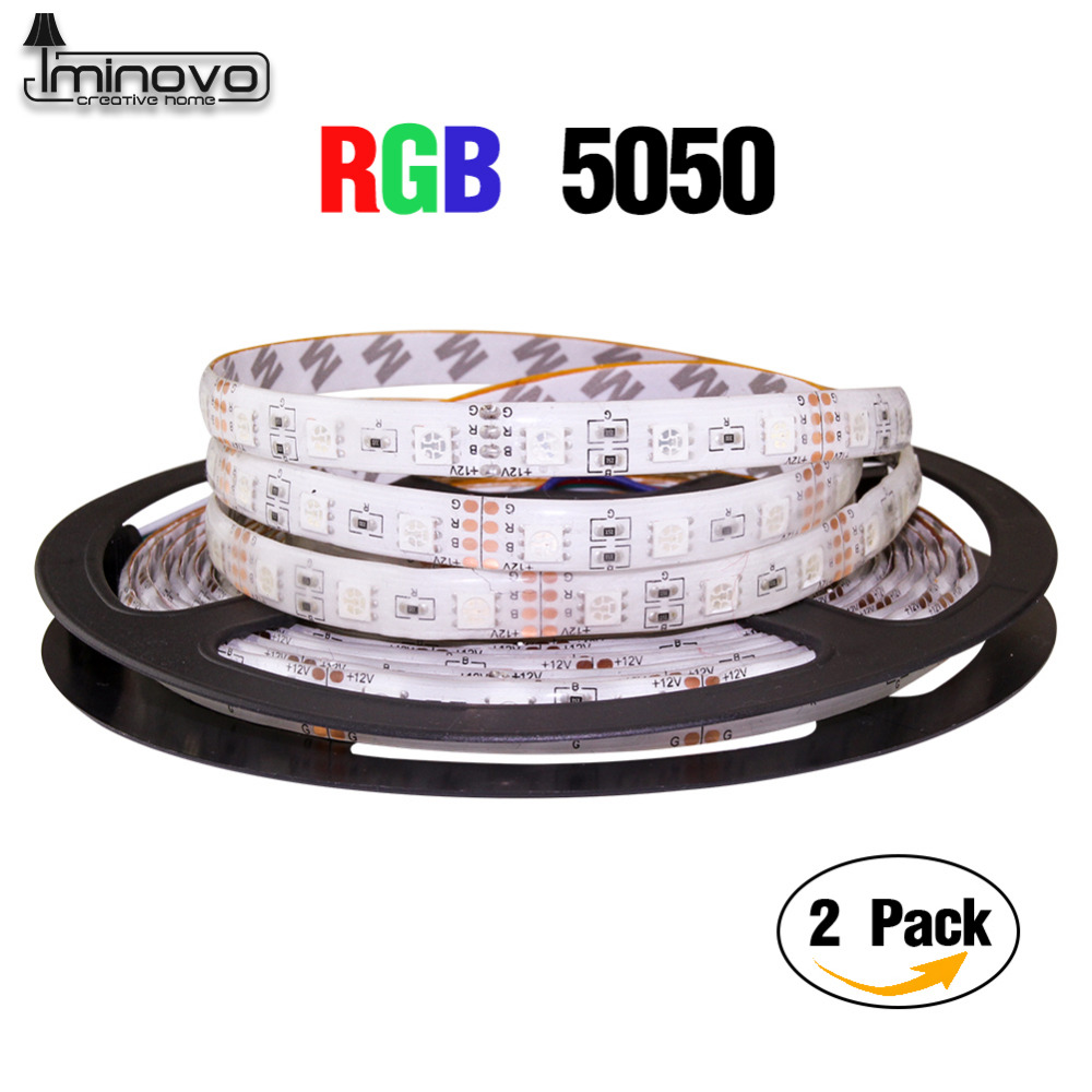 IMINOVO 2Pack 5M Led RGB Strip 300Leds 5050SMD DC 12v Waterproof Lighting For Home Outdoor Garden Decor Flexible Ribbon Tape 20m waterproof rgb 5050 smd 60 leds m led tape lighting flexible tape rope strip light xmas party garden outdoor decor 220v