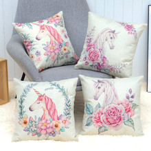 Fine Joy 45x45cm Unicorn Style Cushion  Hibiscus Flower Pillow Beige Linen Home Office Car Sofa Decor