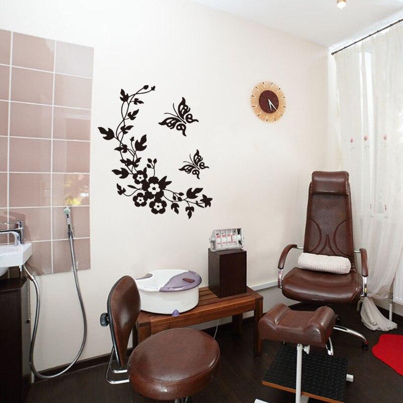 nero farfalla fiore della vite personalizzati decorativi adesivi murali bagno wc wall stickers adesivi apposti in