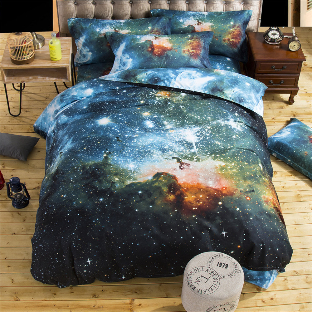 Autumn Winter EVE 3d Bedding Sets Galaxy Shiny Space flat Sheet Duvet cover 2pcs pillowcase,Queen 4pcs,Twin 3pcs