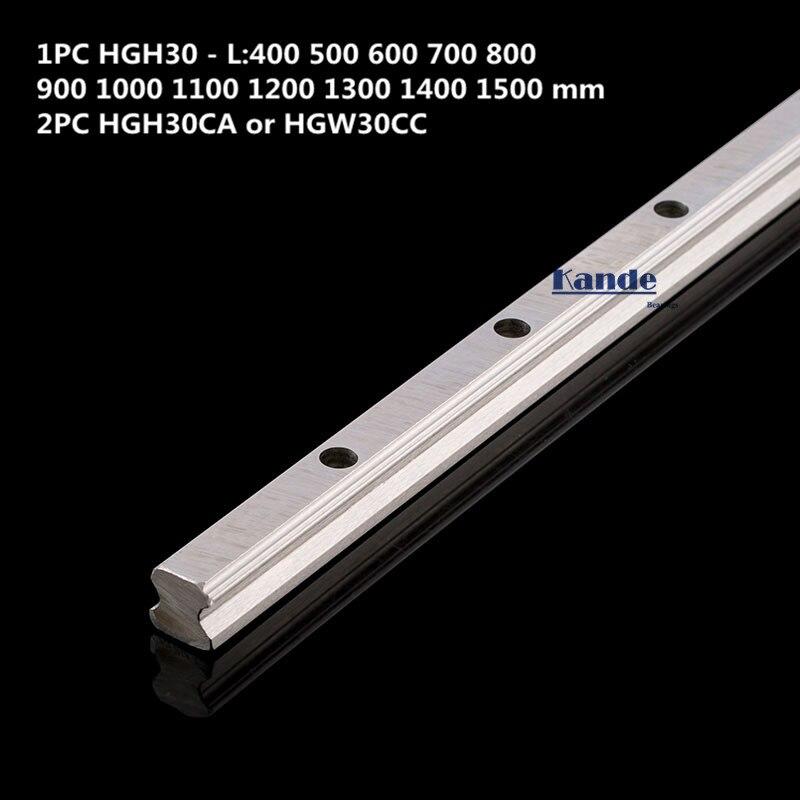 Rail de précision 1PC HGH30 guide linéaire + 2 pièces HGH30CA bloc ou HGW30CC bride bloc L 400 500 600 700 800-1500mm pour CNC - 2