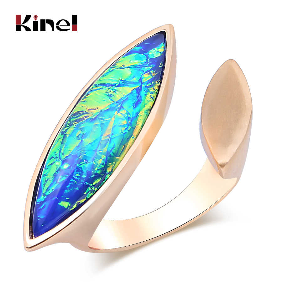 Kinel Exaggerated Vintage Rings For Woman Fashion Gold Colored Stone Adjustable Big Finger Ring Original Design Jewelry