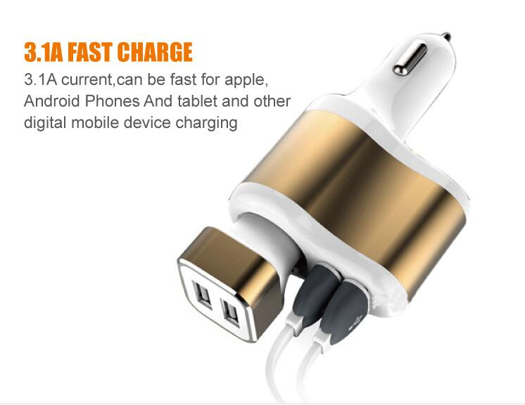 vehicle-mounted Dual USB port charger Output 12V-24V. input 5V-3.1MA. Convenient for Chevrolet sail Cruze Sonic LOVR RV TRAX