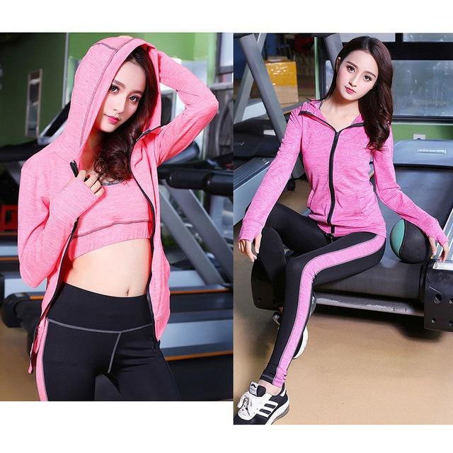 High Waist Pants + Hooded Coat + T-Shirt +Bra + Yoga Women's Pants 4 Pcs Set Outdoor Run Fast Dry Fitness Sports Gym Clothes Set 2