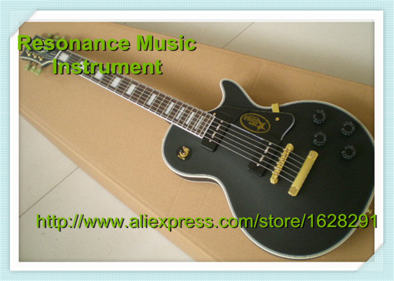 Top Selling Matte Black Top Binding Guitar Body 24 Frets LP Custom Electric Guitar China Left Handed Available new standard lp slash electric guitar flame maple top frets cream binding one piece of neck