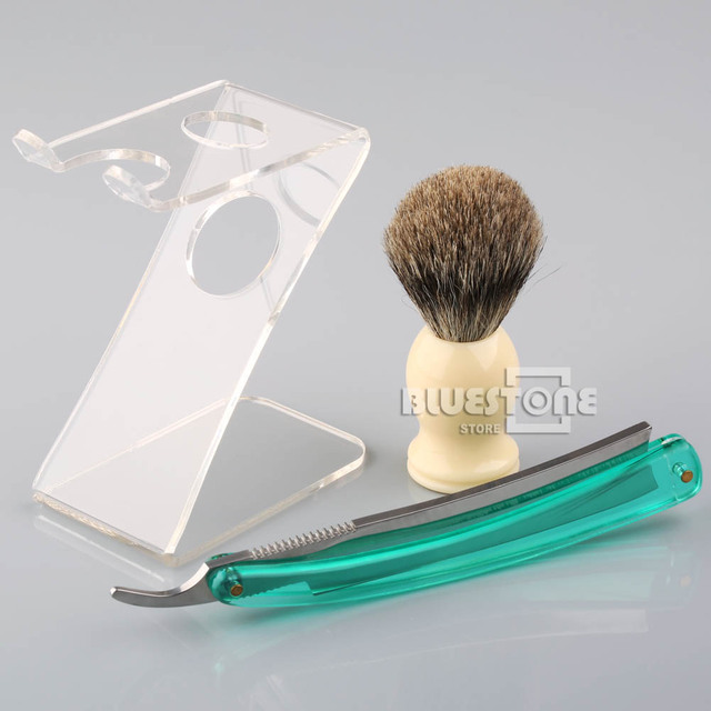 Men's Badger Hair Brush Acrylic Handle Folding Shave Straight Knife Z Stand Brush Holder Set