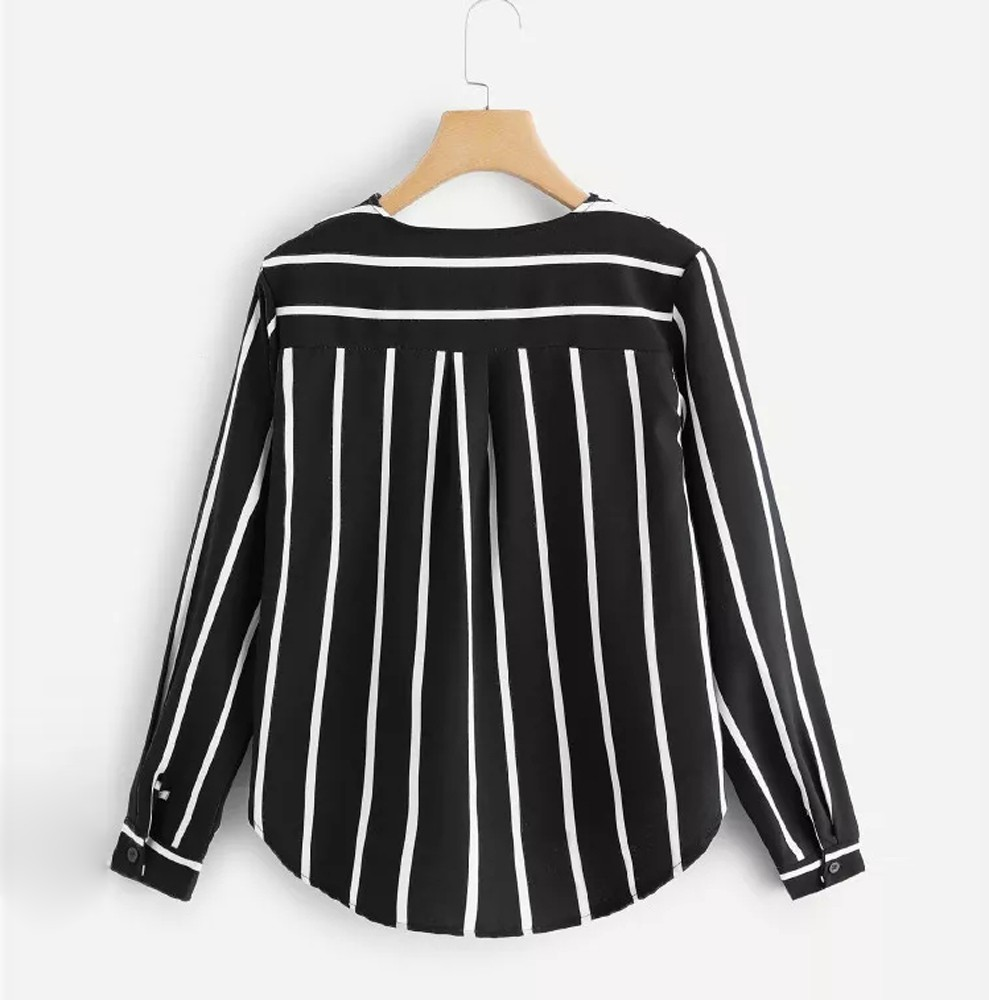 Frauen Casual Herbst Langarm V-ausschnitt Lange Abschnitt Casual Schlank Schlanke Unregelmäßigen Streifen Hemd Bluse Oupas Feminina Verkaufspreis