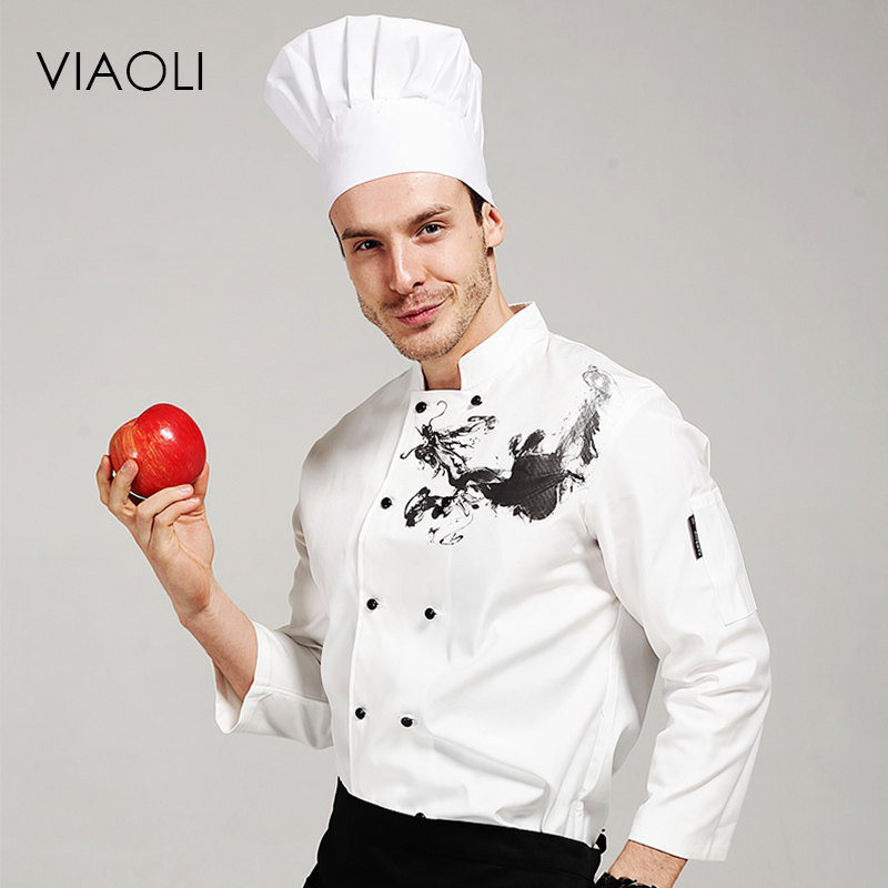 Viaoli chef jacket chinese style white food service restaurant chef uniform hotel kitchen cook clothes