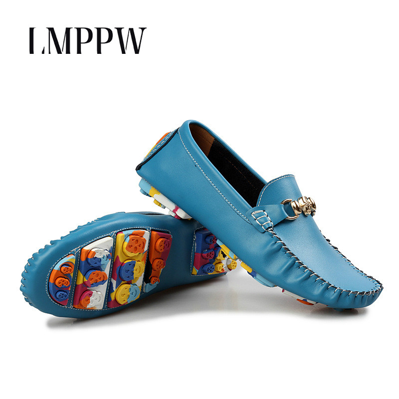 New 2019 Genuine Leather Men's Shoes Fashion Trend Driving Shoes Slip On Men Loafers Luxury Brand Men Flats Soft Moccasins 2A
