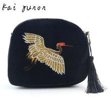 Women Fashion Embroidery Crane Travel Shoulder Bag Large Tote Ladies Purse Dec 23