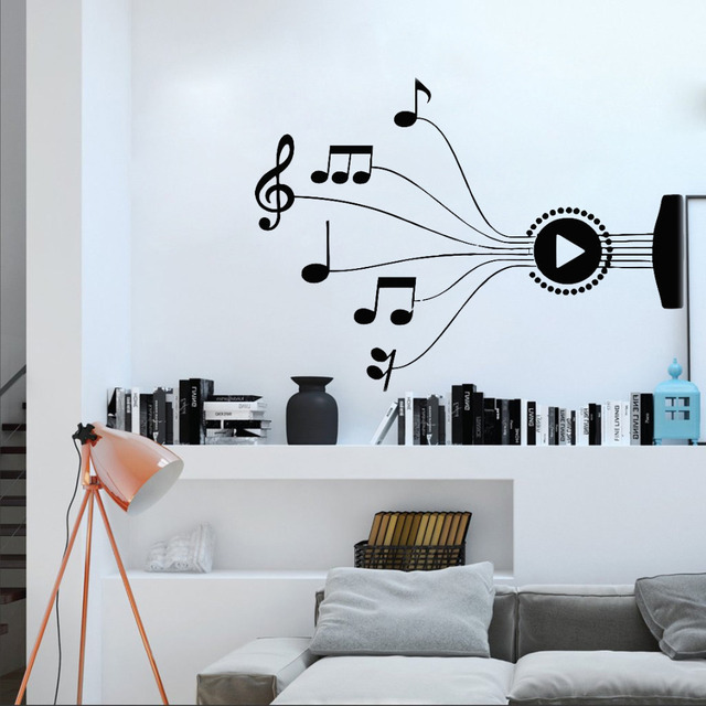 new design music notes melody wall decal stickers bedroom decor