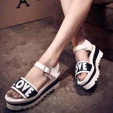 Fashion Letters Sandals Women Summer Casual Comfortable Add Height Sandale Femme Popular US Style Ladies Summer Shoes