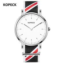 KOPECK Men's Watches Ultrathin Japanese Movement Quartz Fashion Concise Waterproof Analog Watch Nylon Strap Wristwatch Clock