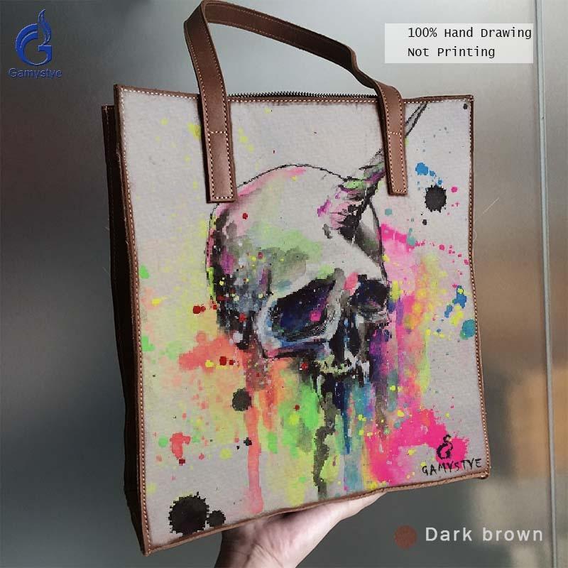 Art Hand Drawing Graffiti Bag Handbags Totes Women Handbag Genuine Full Grain Cowhide Bag Painting Print Colorful Skull Punk skull cat print crescent hem top