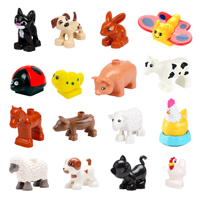 Big Building Block Animal Series Pet Cat Dog Farm Sheep Chicken Toys For Children Compatible With Duplo Educational Gift image