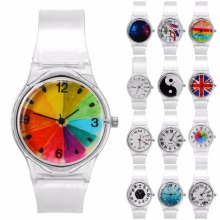 Kids Watches Novelty Cartoon Student Children's Sport Watch Transparent Plastic Clock Boy Girl Quartz Wrist Watch