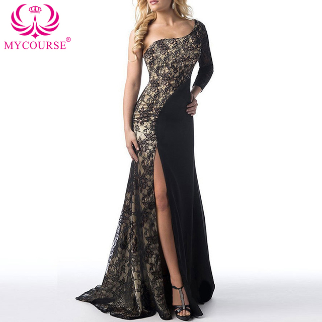 MYCOURSE Elegant Lace Patch Mermaid Long Dress 2017 Sweetheart Ruched Sexy  Split Front Formal Dresses Party Prom Gowns Dresses 9bcb140b92a9