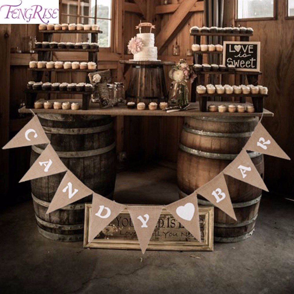 FENGRISE Decorazione di cerimonia nuziale Candy Bar Banner Bunting Hessian Pennant di stoffa Just Married Mr Mrs Birthday Rifornimenti per feste