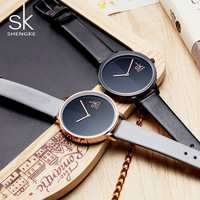 SK 2018 New Arrive Women Fashion Watches Top Brand Luxury Simple Wristwatch Female Pure Black Style