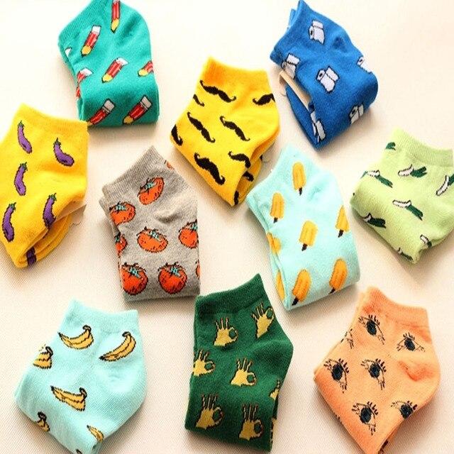 [COSPLACOOL] Новые Симпатичные фрукты цвета любовь конфеты цвет хлопка носок summer стиль женские носки женские тонкие носок тапочки
