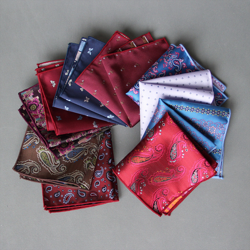 Mantieqingway Fashion Men's Pocket Square Polyester Floral Handkerchief For Business Suits Wedding Paisley Pocket Towel Hankies