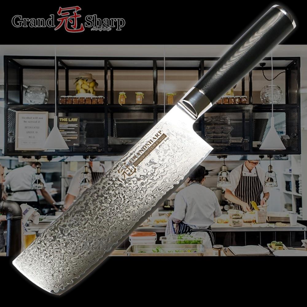 Damascus Cleaver Knife Nakiri 7 Inch Japanese Stainless Steel vg10 Kitchen Chef Slicing Fruit Vegetable Sharp
