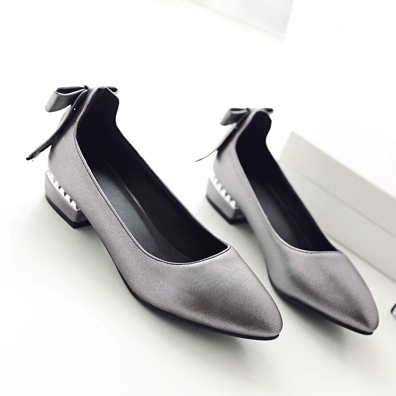 Women shoes pumps spring 2017 thick low heels  autumn elegant slip-on pointed toe casual shoes ladies office wear big size 41 42 new control relay cad series cad32 cad32bndc cad 32bndc 60v dc