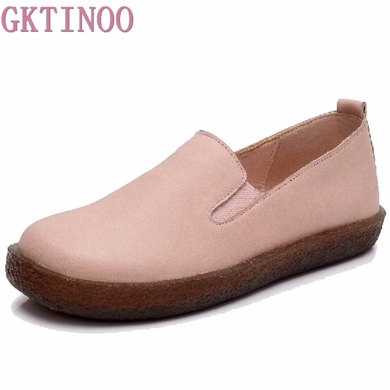 GKTINOO Spring Women Flats Shoes Genuine Leather Slip-on Round Toe Muscle Sole Ladies Casual Shoes Comfortable Soft Shoes Female beffery 2018 spring patent leather shoes women flats round toe casual shoes vintage british style flats platform shoes for women