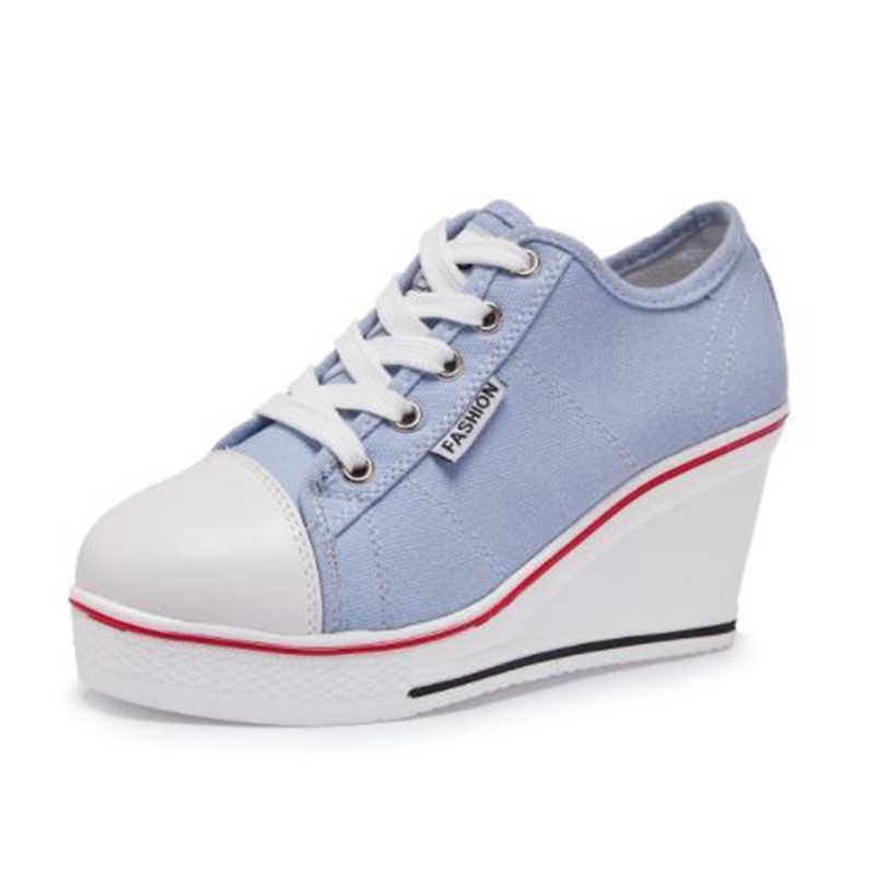 promo code 6561a 820fb COVOYYAR 2019 donne della tela di canapa scarpe con zeppa tacco lace up low  top moda donna scarpe da tennis della piattaforma della signora scarpe ...