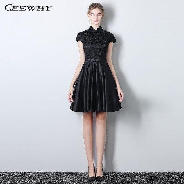 2dab37cc81d CEEWHY винтажное платье с длинным рукавом и высоким воротником ...