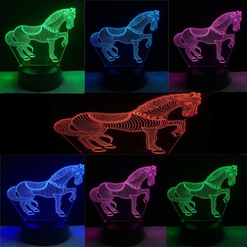 Luzes da Noite novo animal cavalo 3d usb Formato : Animal