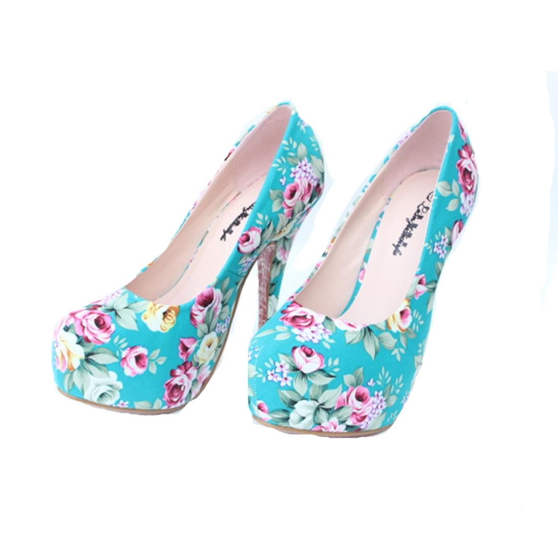 ФОТО Women Pumps 2017 Hot Vintage Floral Print High Heels Women Party Wedding Shoes High Heels Platform Shoes Woman plus size 32-43