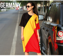 VERRAGEE original European Cup commemorative models dress 2016 new women's fashion spell color printing loose bat sleeve dress