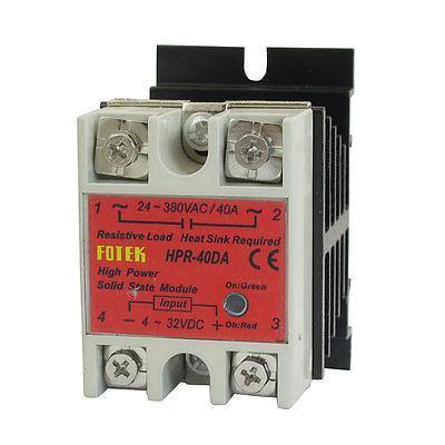 DC-AC Solid State Relay HPR-40DA 40A 4-32V DC 24-380V AC w Aluminum Heat Sink