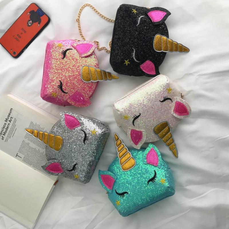 Unicorn Bag Crossbody-Bag Leather Wallet Sequins Clutch Wholesale Printing Girls Fashion