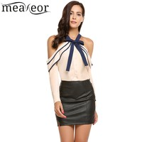 Meaneor Off The Shoulder Ruffle Sexy Chiffon Shirt 2017 Women Bow Tie Halter Patchwork Shirt With
