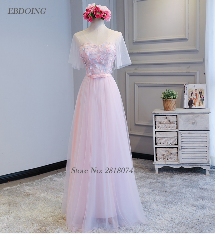 Charming   Bridesmaid     Dresses   2018 A-line With Appliques Robe De Soiree Floor-length Prom   Dress   Wedding Party   Dresses