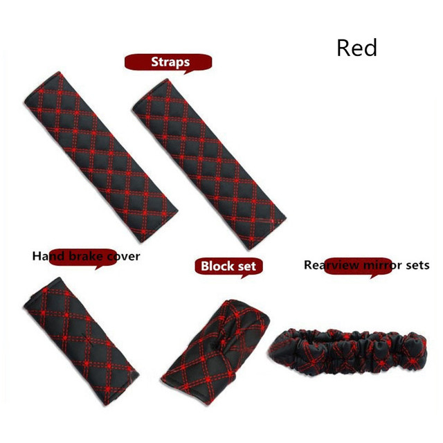 Universal Car Hand Brake Cover Cow Sets Seat Belts Rearview Mirror Sets Car  Interior Supplies Five Sets Red White Car Gift d53a2b243d26