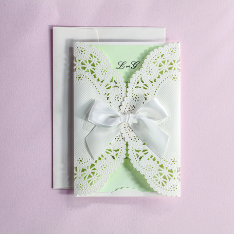 Customize White Laser Cut Lace Ribbons Bow Wedding invitation Kit Blank Printing Invitations Card Set Green Inside Paper square design white laser cut invitations kit blanl paper printing wedding invitation card set send envelope casamento convite
