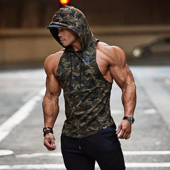 c1384dad New Men Bodybuilding Tank Tops Gyms Fitness Workout Sleeveless Hoodies Man  Casual Camouflage Hooded Vest Male Camo Clothing