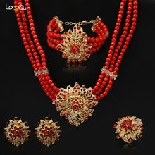 High Quality Italy hyperbole african Black red bead women wedding Jewelry Sets Fashion Rose Necklace Earrings party Sets(China)