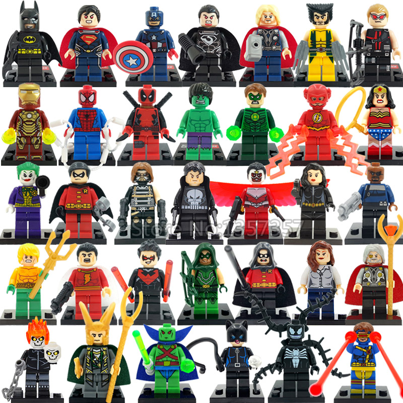 цены  Marvel DC Super Hero Figures 200+ Avengers Building Blocks Set Batman Deadpool Spider Man Classic Toys For Children