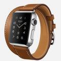 Custom Made Extra longo de couro genuíno para Apple faixa de relógio pulseira dupla de turismo pulseira de couro para iWatch banda 38 mm 42 mm