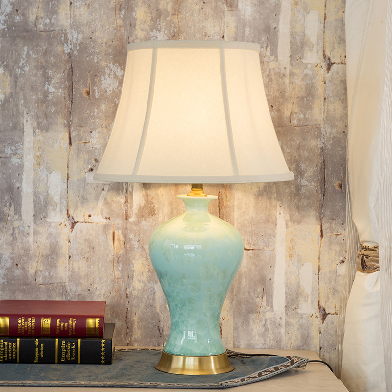 Vintage antique Deena China hand decorated green table lamp with pink rose  and gold ceramic porcelain