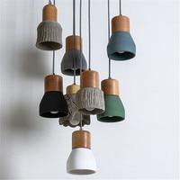 Loft Decor Vintage LED Pendant Light Cement Wood Lamps Home HangLamp Industrieel Dining Room Lights Antique Lampara Colgante