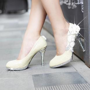 Bestselling Gorgeous Rhinestone ultra high-heeled Bridal shoe,wedding shoe,Evening shoe Golden,Silver and Red Color